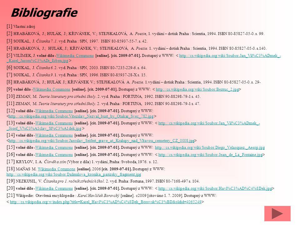 Bibliografie [1] Vlastní zdroj